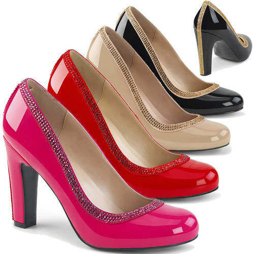Drag Heels | Queen-04, Chunky Heel Pump with Contrast Trim