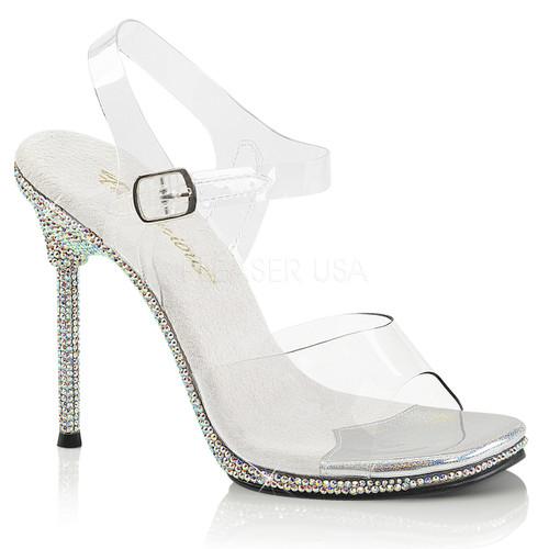 Chic-08DM, 4.5 Inch Stiletto Heel Anke Strap Sandal with Rhinestones