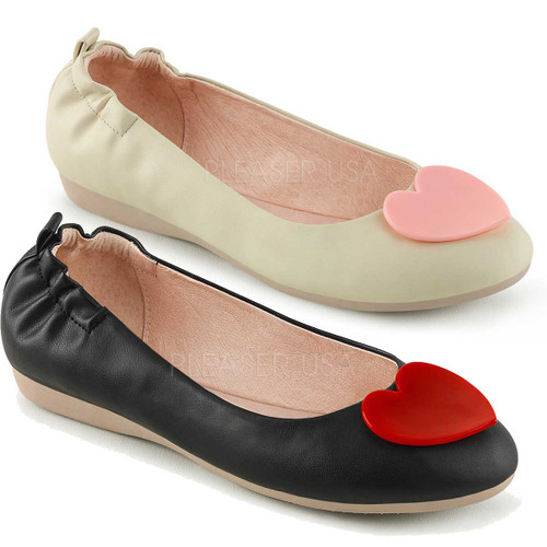 Olive-05, Round Toe Flats with Heart Adornment