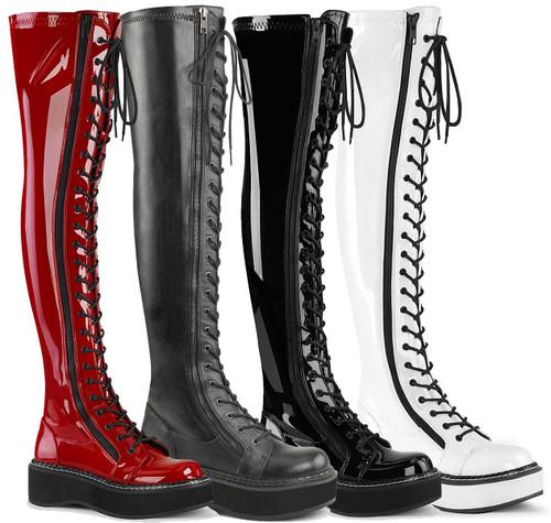 Goth Punk Thigh High Boots by Demonia Emily-375