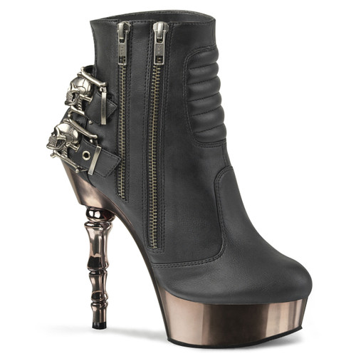 Muerto-900, Gothic Finger Bone Heel Ankle Boots by Demonia Women's boots