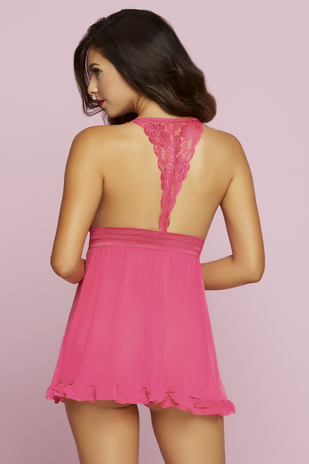 STM-10747, Gallon Lace and Mesh Babydoll color pink back view