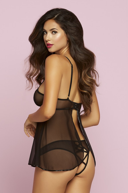STM-10730, Mesh Babydoll with Lace Appliqué
