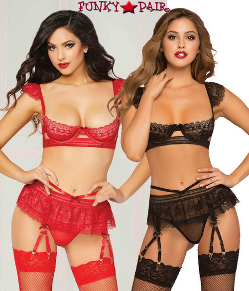 STM-10774, 3pc Floral Galloon Bra Set color available: red or black