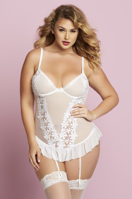 STM-10728X, 2pc White Bustier Set