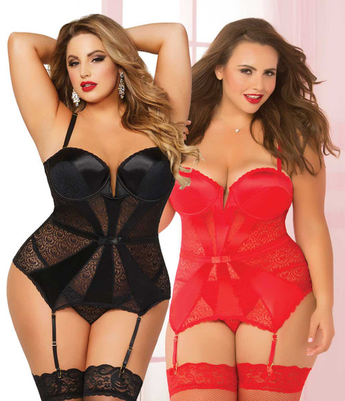 STM-10698X, Geo Lace and Satin Bustier