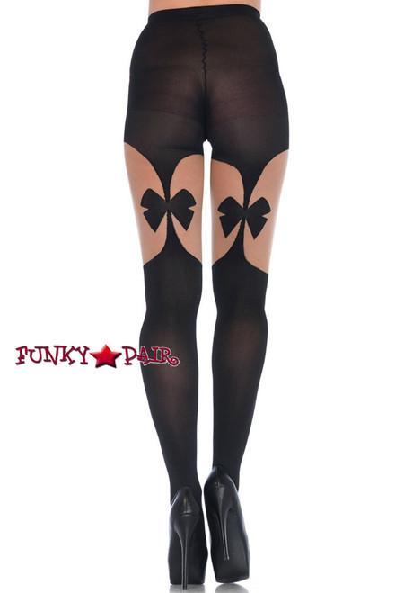 Black Opaque Garterbelts Tights | Leg Avenue LA7732  back view