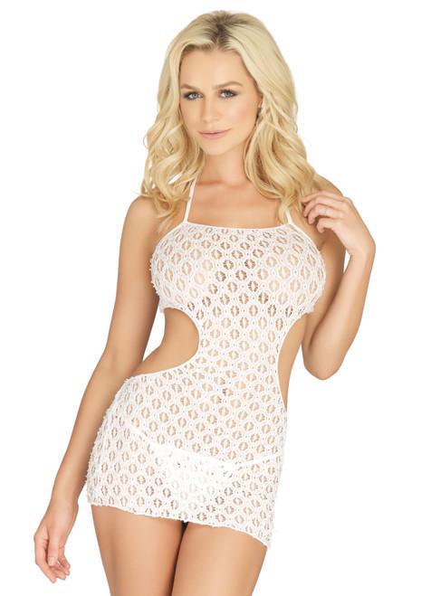 LA81534, Crochet Lace Halter Mini Dress