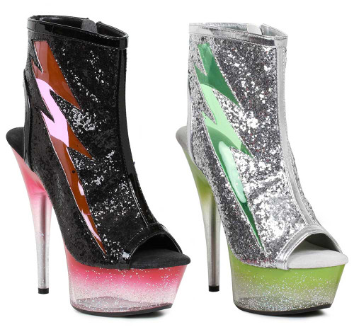 609-Thunder, 6 Inch Ankle Boots with Lightning Design