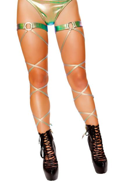 R-3497, Iridescent Denim Leg Wrap