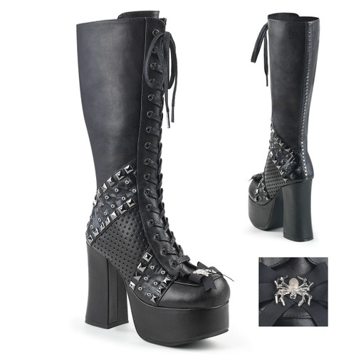 Charade-150, 4.5 Inch Chunky Heel Lace up Knee High Boots with Studded by Demonia