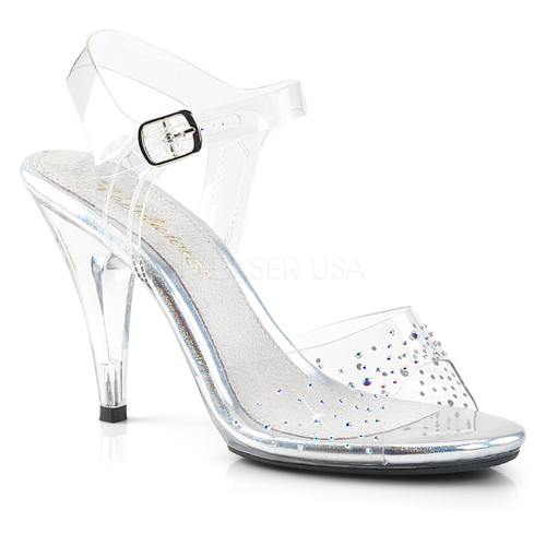 Caress-408SD, 4 Inch Heel Ankle Strap Sandal with Rhinestones