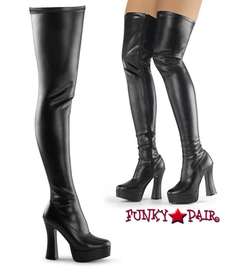 ELECTRA-3000Z, Stripper Platform Stretch Thigh High Boot by Pleaser color Black Faux Leather