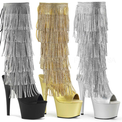 Adore-2024RSF, 7 Inch Heel Fringe Knee High Boots
