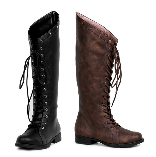 181-Huntress, 1 Inch Heel Lace up Boots