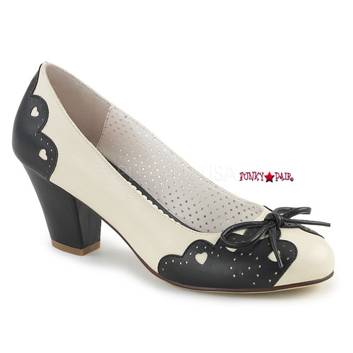 Wiggle-17, 2.5 Inch Cuben Heel Pump with Bow Accent color cream/black