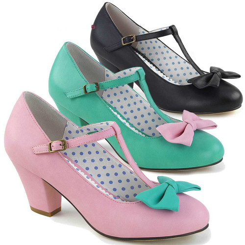 Wiggle-50, Cuben Heel T-strap Pump   Pin-Up Couture
