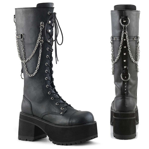 Ranger-303, Men's Punk Rock Chains & Studded Boots by Demonia