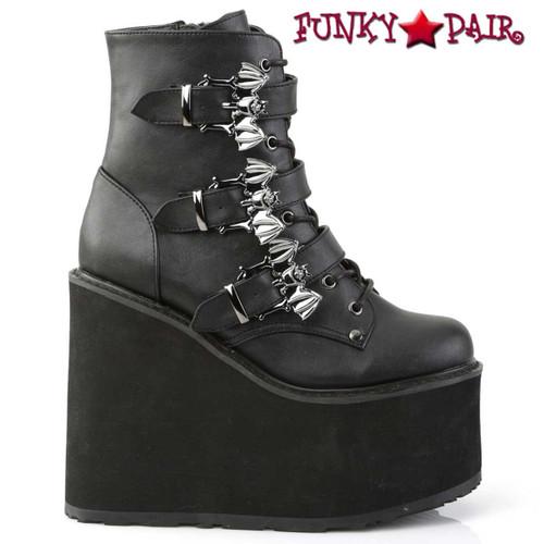 Demonia Swing-103, Triple Bat Buckles Wedge Platform Ankle Boots