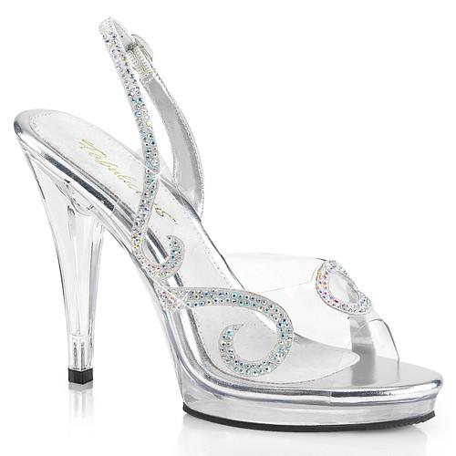 "4.5"" Clear Wedding Sandal with Rhinestones Fabulicious   Flair-457,"