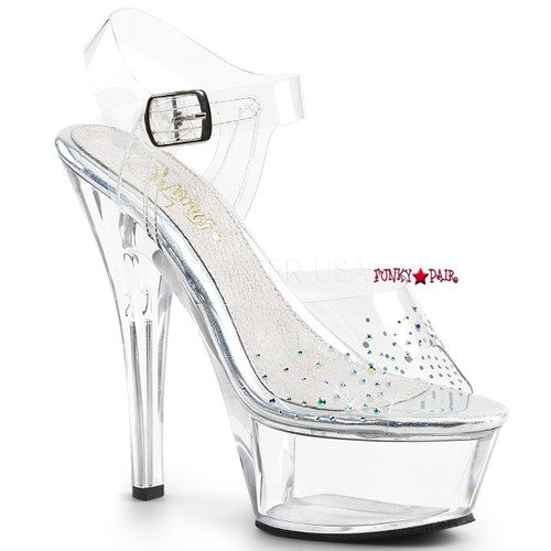 Kiss-208SD, 6 Inch High Heel Ankle Strap Sandal with Rhinestones on Vamp