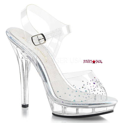 Lip-108SD, 5 Inch High Heel Ankle Strap Sandal with Rhinestones on Vamp