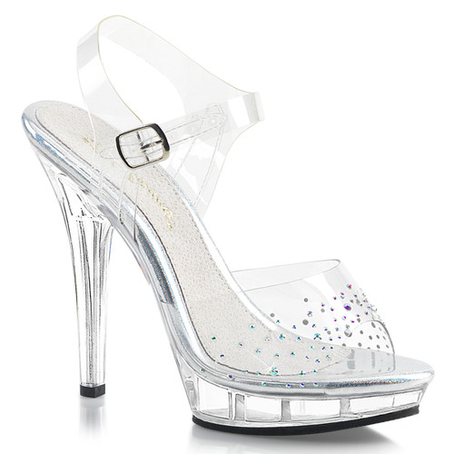 """Fabulicious   Lip-108SD, 5"""" Clear Ankle Strap Sandal with Rhinestones on Vamp"""
