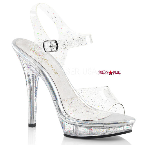 Lip-108MMG, 5 Inch High Heel Sandal with Glitters