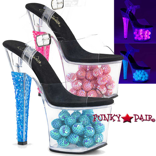 Pleaser Shoes Radiant-708NSB, Neon Sandal with Sequin Balls