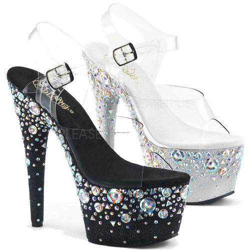 Pleaser Shoes | Adore-708ROSE, Ankle Strap with Rhinestones Rose Pattern