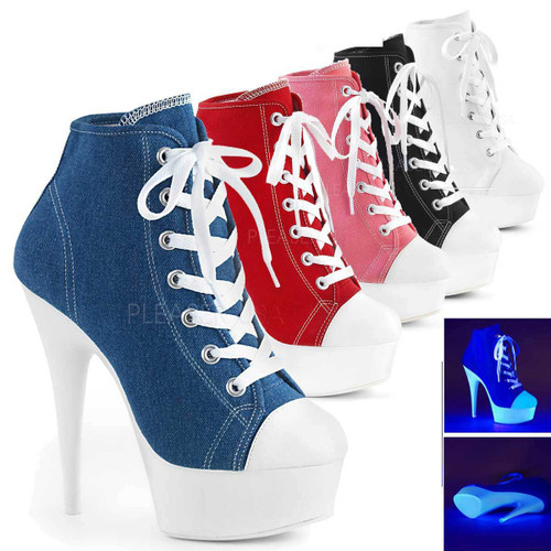 Pleaser | Delight-600SK-2, Neon Platform Canvas Sneaker Available Color: Blue, Red, Pink, Black,White