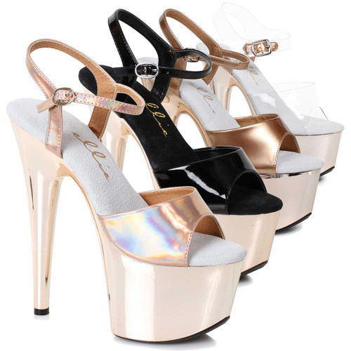 "Stripper shoes | 709-Bria 7"" Rose Gold Platform Sandal"