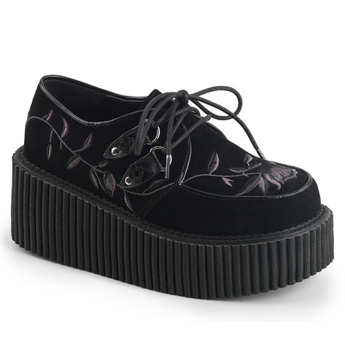 Creeper-219, 3 Inch Platform Creeper with Embroidery Flower
