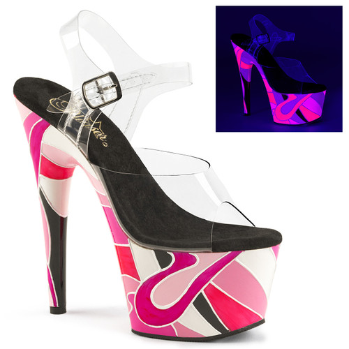 Adore-708UVR, Platform Sandal with Reactive Abstract Mosaic Art | Pleaser Shoes