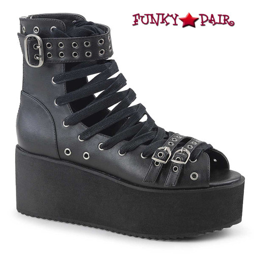 Grip-105, 2.75 Inch Platform Lace-up Ankle High Sandal Color Black Vegan Leather