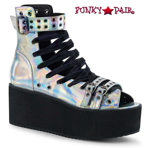 Grip-105, 2.75 Inch Platform Lace-up Ankle High Sandal Silver  Hologram Vegan Leather