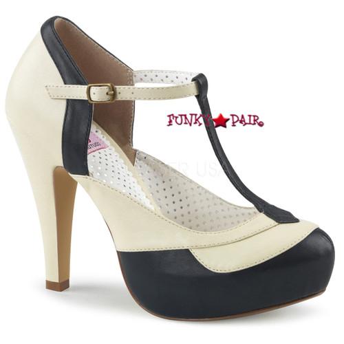 Black/Cream Bettie-29, 4.5 Inch Heel T-strap Pump