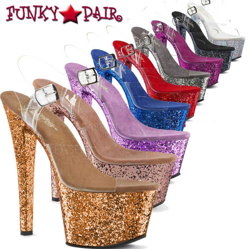 Sky-308LG, 7 Inch Ankle Strap Sandal with Glitters on Platform | FunkyPair.com