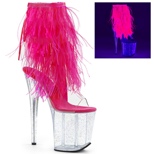 Pleaser Shoes   On Sale Stripper Ankle Boots with Marabou Fur Fringe