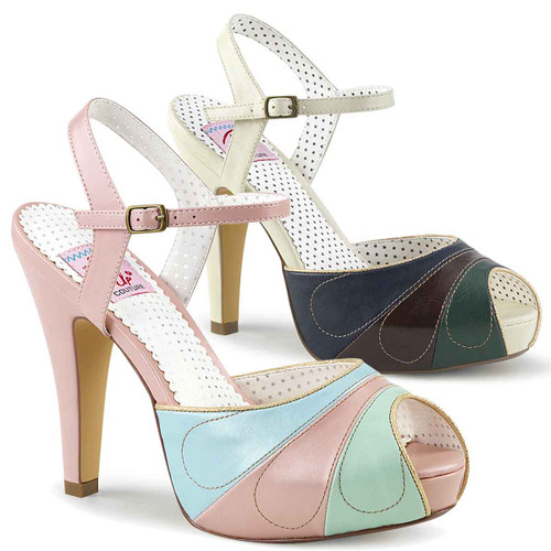 Bettie-27, Peep Toe Ankle Strap Sandal Pin Up Shoes