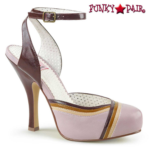 Cutiepie-01, Closed Toes Ankle Strap Sandal | Pin-Up Couture Color Lilac Multi Faux Leather