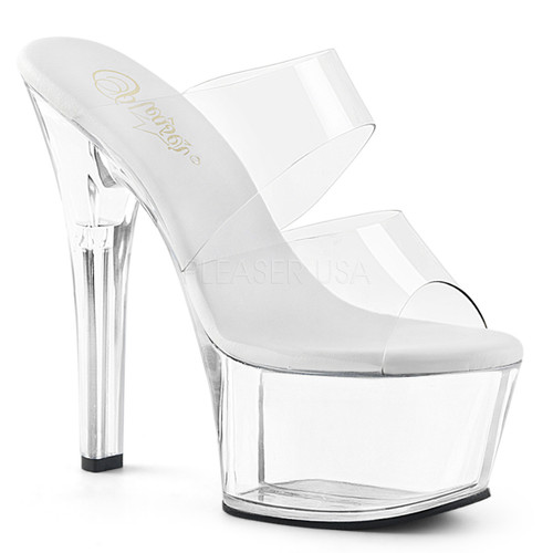 Pleaser Shoes Aspire-602, Clear Double Band Slide