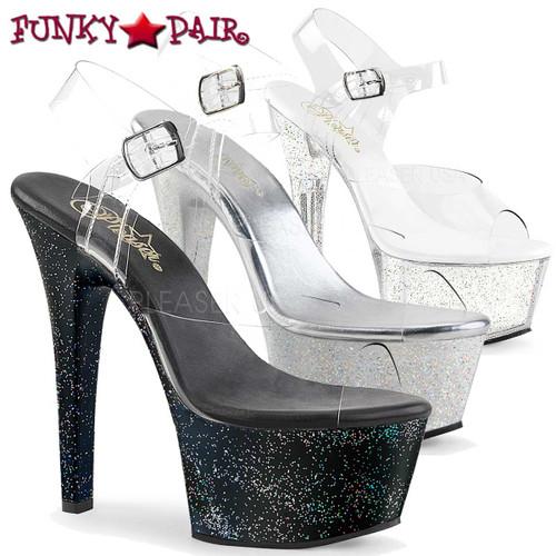 Pleaser Shoes Aspire-608MG, Holographic Glitter Platform