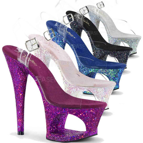 Stripper Shoes Moon-708LG, 7 Inch High Heel Cut-Out Platform Ankle Strap Sandal with Glitters color available: Opal, Blue, Purple, Silver, Black