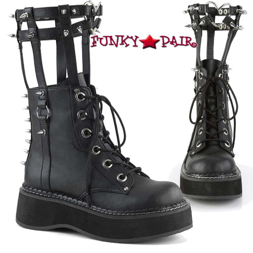 Demonia | Emily-357, Cage Style Goth Platform Boots