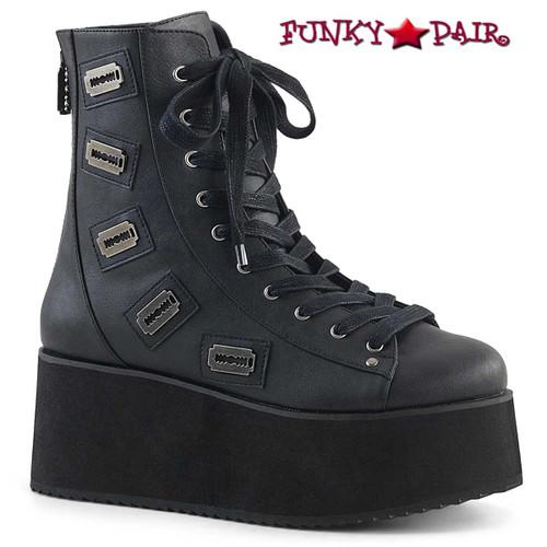 Grip-103, 2.75 Inch Platform Lace-up Ankle Boots Demonia Shoes color black