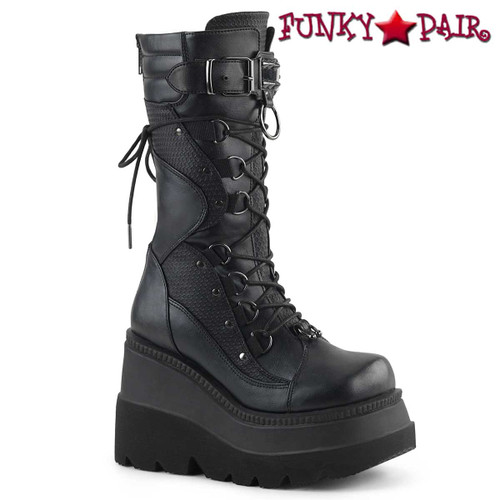 Demonia Shaker-70, Goth Wedge Platform Lace Mid-Calf Boot