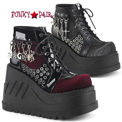Demonia | Stomp-18 4.75 Inch Platform Lace-up Front Wedge Booties Colo Available: Black Pat-Burgundy Velvet, Black Vegan Leather-Grey Velvet Size 6 - 11