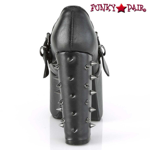 Torment-500 Spiky Cone Studs on Heel Back View by Demonia