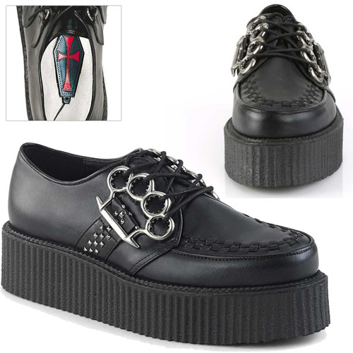 V-Creeper-516, Men's Creeper with Brass Knuckles by Demonia